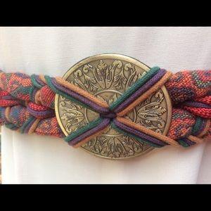 Vintage BOHO Tapestry Ethnic BRASS Festival Belt